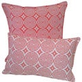 Corona Decor Transitional Tangerine-and-White Indoor/Outdoor Decorative Throw Pillow Set