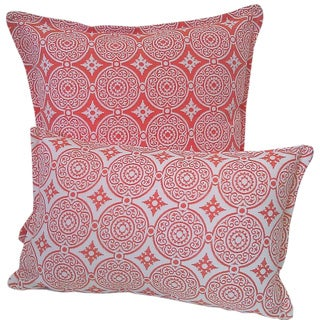 Corona Decor Transitional Tangerine-and-White Indoor/Outdoor Decorative Throw Pillow (Set of 2)
