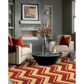 Classic chevron area rug 5 39 x 8 39 overstock shopping for Living room rugs 6x9