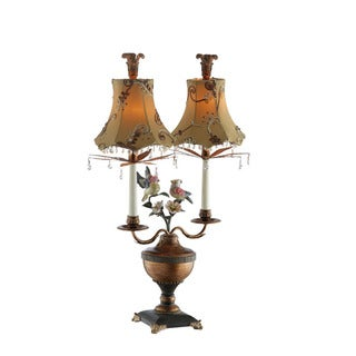 Birds with Flowers/ Crystals Twin Lamp
