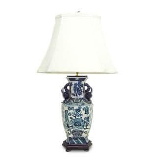 Blue/ White Hex Lamp with Pomegranate Handles
