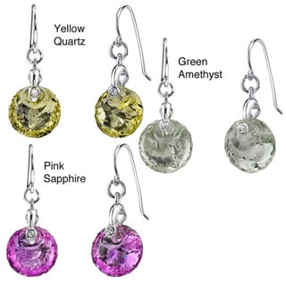 Oravo Sterling Silver Gemstone Round-cut Dangle Earrings
