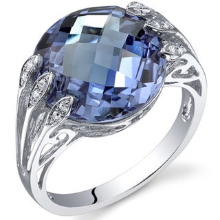 Oravo Sterling Silver Alexandrite and Cubic Zirconia Ring