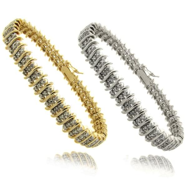 Finesque Silverplated 2ct TDW Diamond 3-row 'S' Bracelet (I-J, I2-I3)