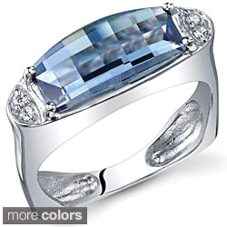 Oravo Sterling Silver Barrel-cut Gemstone Ring