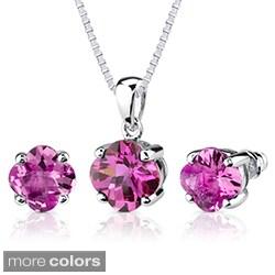 Sterling Silver Fancy Lily-cut Gemstone Jewelry Set