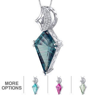 Sterling Silver Kite-shaped Gemstone Necklace