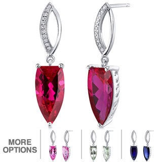 Oravo Sterling Silver Half Marquise Cut Gemstone Dangle Earrings