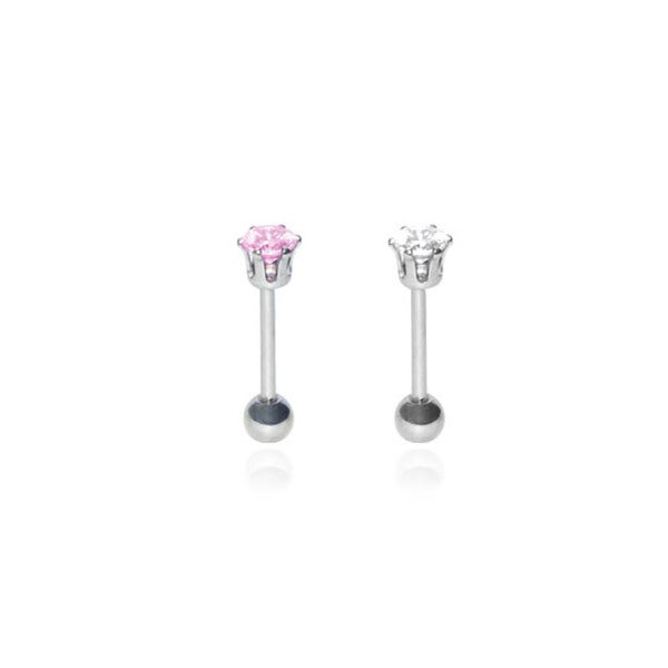 16 G 3/8-inch Eyebrow Stud With 5mm Stone (Pack of 2)