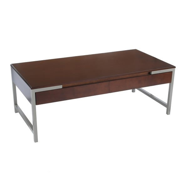 Bianco Collection Espresso Modern Dual Drawers Coffee Table