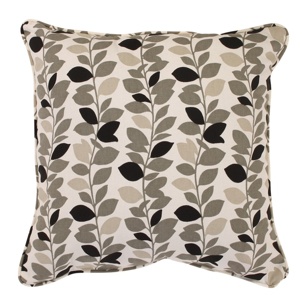Ivy Leaf 18-inch Corded Throw Pillow in Black/ Grey