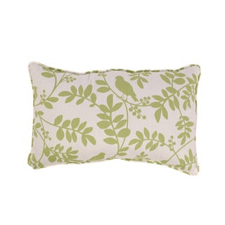Botany Rectangular Corded Throw Pillow in Green/ White