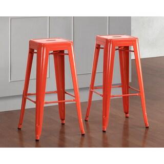 tabouret 30 inch tangerine metal bar stools set of 2 overstock shopping great deals on bar. Black Bedroom Furniture Sets. Home Design Ideas