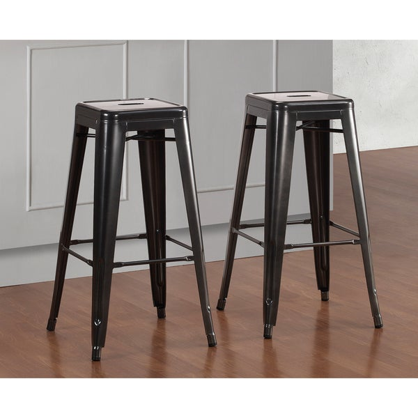 tabouret 30 inch charcoal grey metal bar stools set of 2. Black Bedroom Furniture Sets. Home Design Ideas