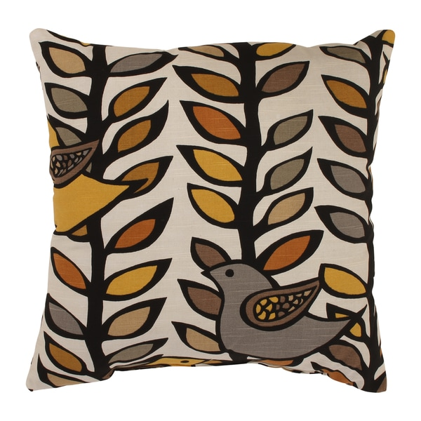 'Trixie' Gold-and-Black Leaf-and-Bird-Pattern Square Throw Pillow