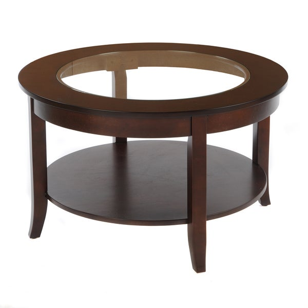 Bianco Collection Espresso 30 Inch Round Glass Top Coffee Table 14697536