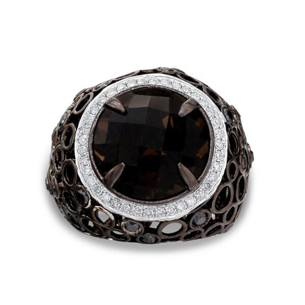 Silver Smokey Quartz and 7/8ct TDW Diamond Ring (J-K, I2-I3)