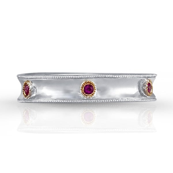Sterling Silver and 14k Yellow Gold 1/8ct Ruby Band