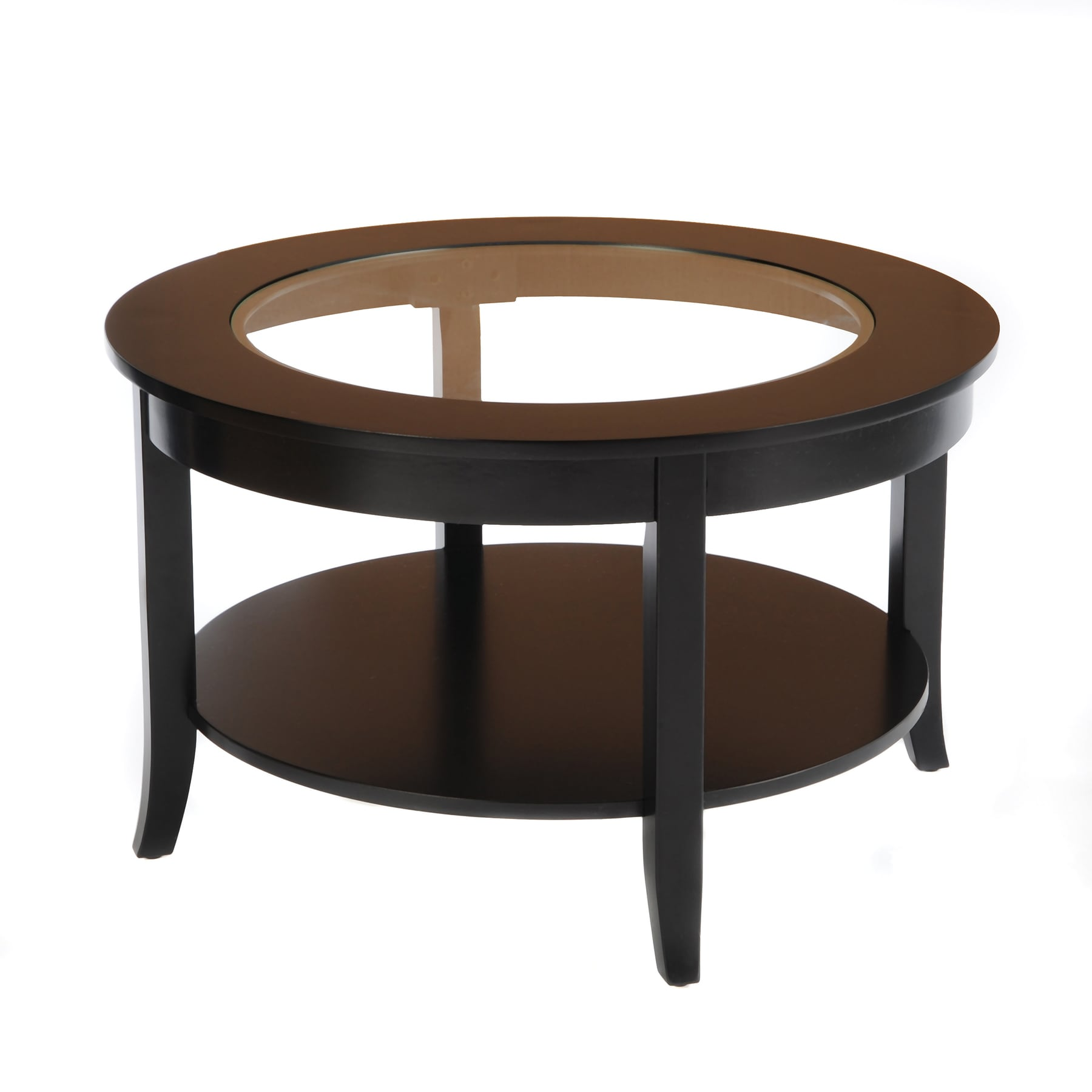 Bianco Collection Black 30 Inch Round Glass Top Coffee Table Overstock Shopping Great Deals