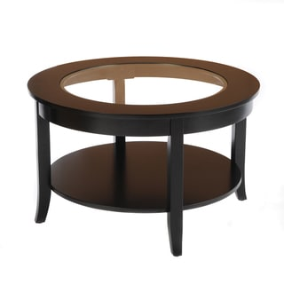 Bianco Collection Black 30-inch Round Glass Top Coffee Table