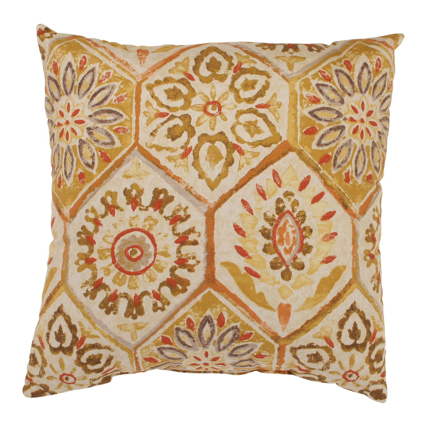'Summer Breeze' Gold Square Throw Pillow
