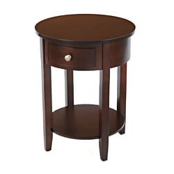 Bianco Collection Classic Espresso Round Single-Drawer Side Table