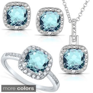 Dolce Giavonna Silver Blue Topaz or Amethyst and 1/8ct TDW Diamond Jewelry Set (I-J, I2-I3)