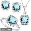 Silver Blue Topaz or Amethyst and 1/8ct TDW Diamond Jewelry Set (I-J, I2-I3)