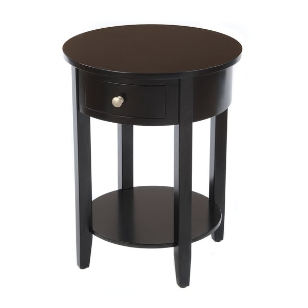 Bay Shore Collection Black Round Drawer Side Table