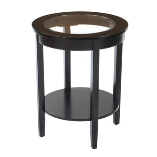Bianco Collection Black Round Glass Top Side Table