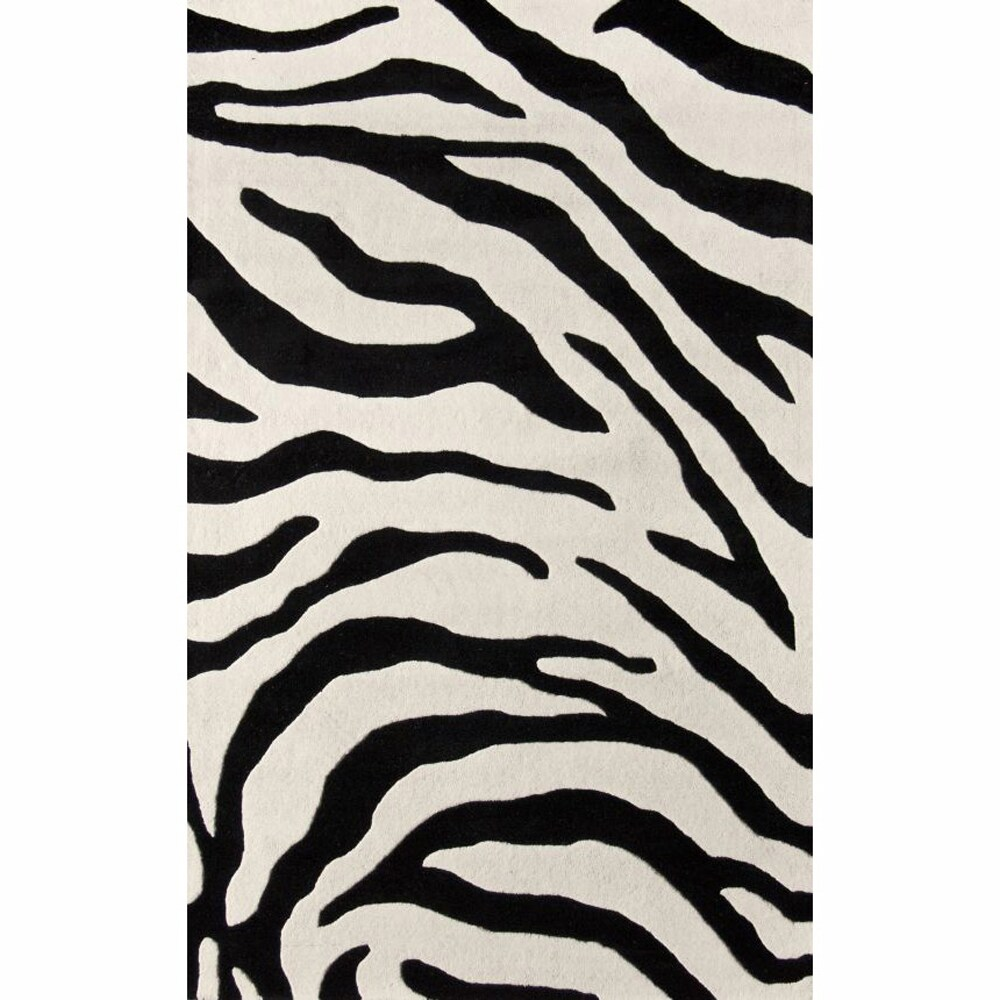 nuLOOM Handmade Modern Zebra Black/ Ivory Wool Rug (4' x 6')