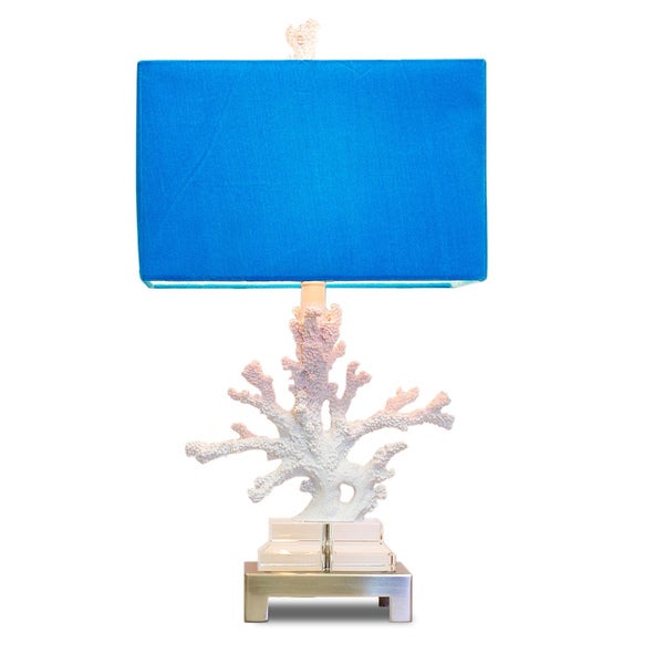 White Coral Turquoise Shade Lamp