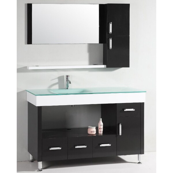 Glass Top 56-inch Bathroom Vanity Set