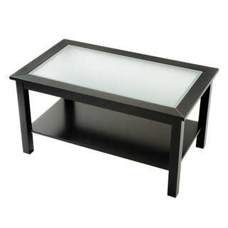 Bianco Collection Black Glass Top Coffee Table