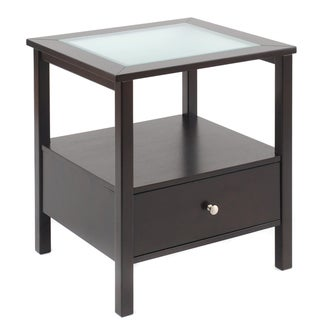 Bianco Collection Espresso Glass Top End Table