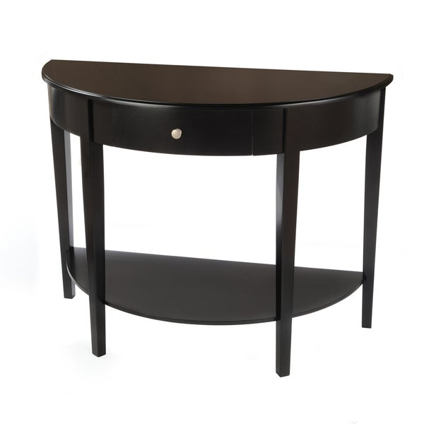 Bianco Collection Large Black Half Round Table