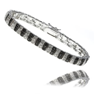 Finesque Silver Overlay 1ct TDW Black and White Diamond Stripe Bracelet