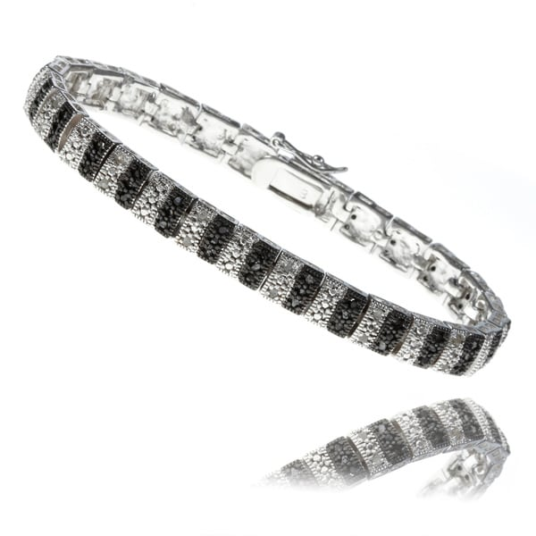 Finesque Silverplated 1ct TDW Black and White Diamond Stripe Bracelet