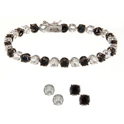 Dolce Giavonna Silver Overlay Black Sapphire and White Topaz Bracelet and 2 Pairs Earring Set