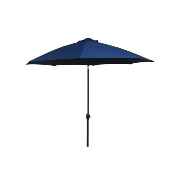 Fiberglass Navy Blue Poly Crank and Tilt 9-foot Umbrella