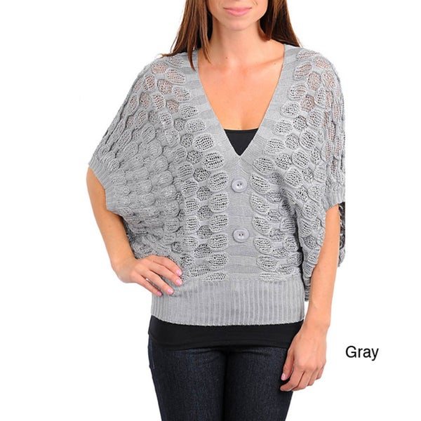 Stanzino Women's Knit Poncho Sweater Top with Button Detail
