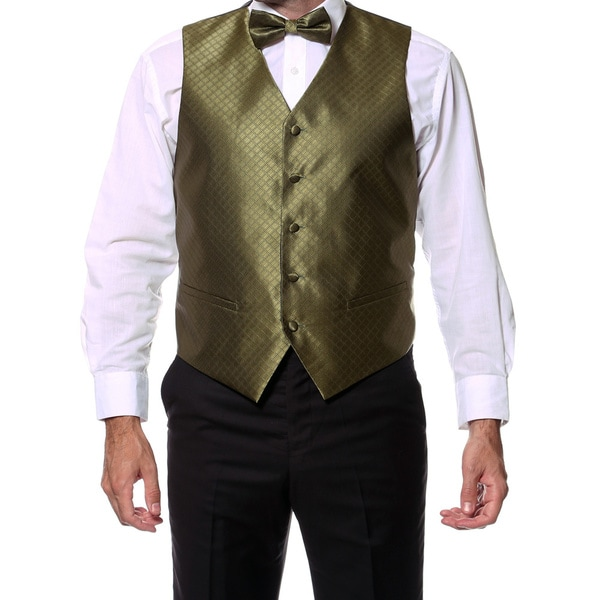 Ferrecci Men's Olive 4-piece Vest Set