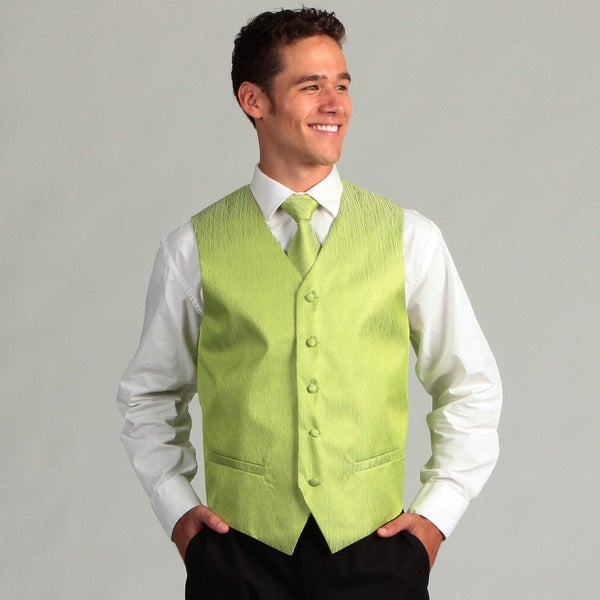 Ferrecci Men's 4-piece Lime Corrugated Vest Set