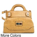 Anais Gvani Croco-Embossed Satchel Bag with Shoulder Strap