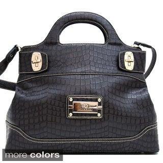 Anais Gvani Croco-Embossed Satchel Bag with Shoulder Strap