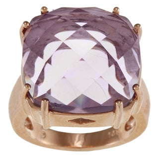 14k Rose Gold Cushion-cut Amethyst Ring