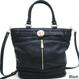 Anais Gvani Belted and Zipped Up Fashion Tote with Gold Accents