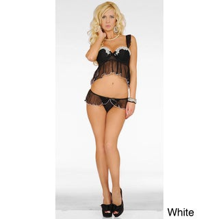 Popsi Lingerie Short Stretch Mesh Babydoll Set