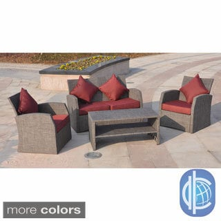 International Caravan Aruba Aluminum/ Textweave 4-piece Settee Set