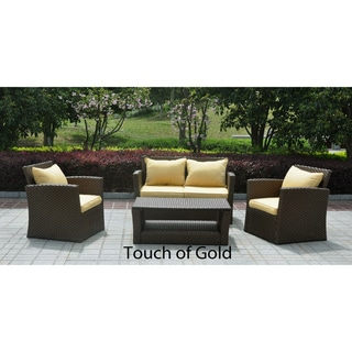 St. Lucia 4-piece Resin/ Aluminum Outdoor Settee Set